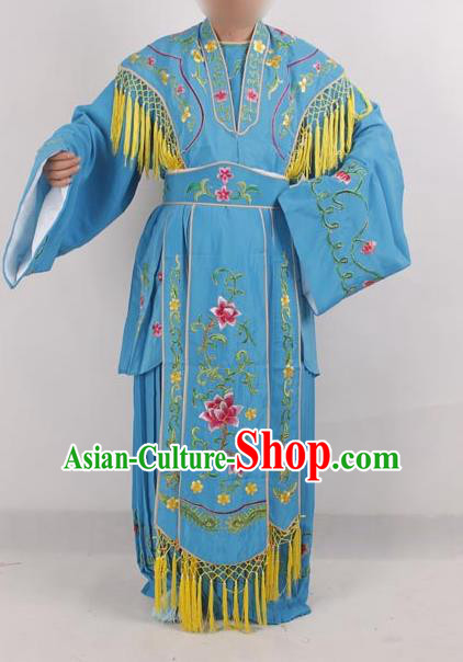 Professional Chinese Peking Opera Diva Costumes Ancient Fairy Embroidered Blue Dress for Adults