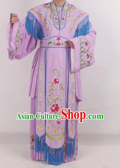 Professional Chinese Peking Opera Diva Costumes Ancient Fairy Embroidered Purple Dress for Adults