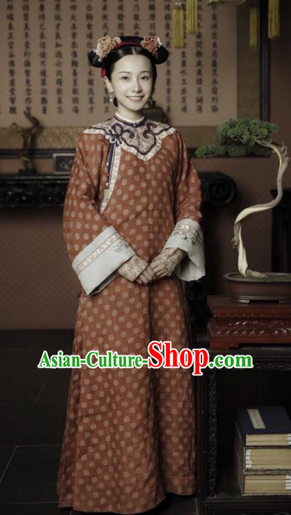 Story of Yanxi Palace Chinese Qing Dynasty Court Maid Costumes and Headpiece Complete Set