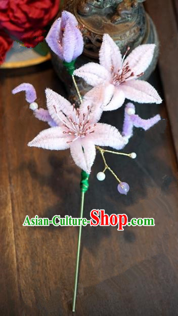 Top Grade Chinese Handmade Hair Accessories Qing Dynasty Pink Velvet Flowers Hairpins for Women