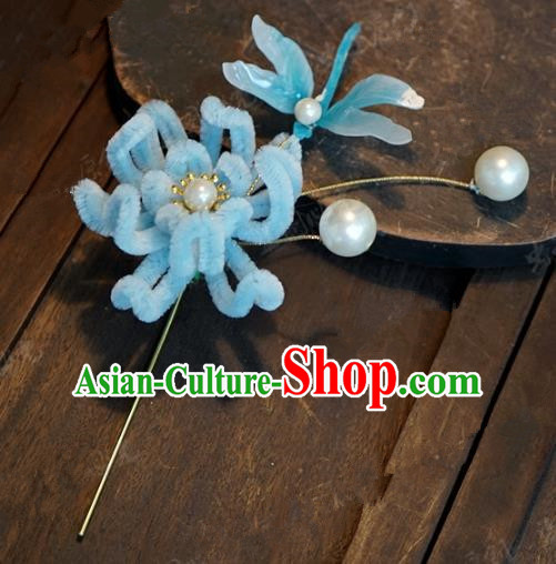 Top Grade Chinese Handmade Hair Accessories Qing Dynasty Blue Velvet Chrysanthemum Flowers Hairpins for Women