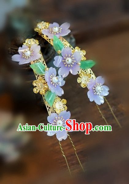 Chinese Handmade Ancient Hair Accessories Ancient Hanfu Purple Flowers Hairpins for Women