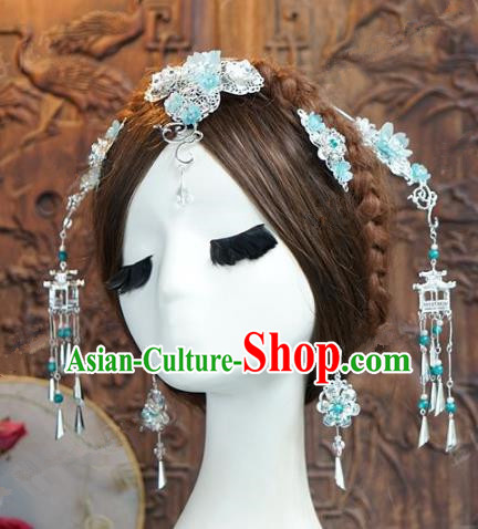 Chinese Handmade Ancient Wedding Hair Accessories Blue Hairpins Phoenix Coronet Complete Set for Women