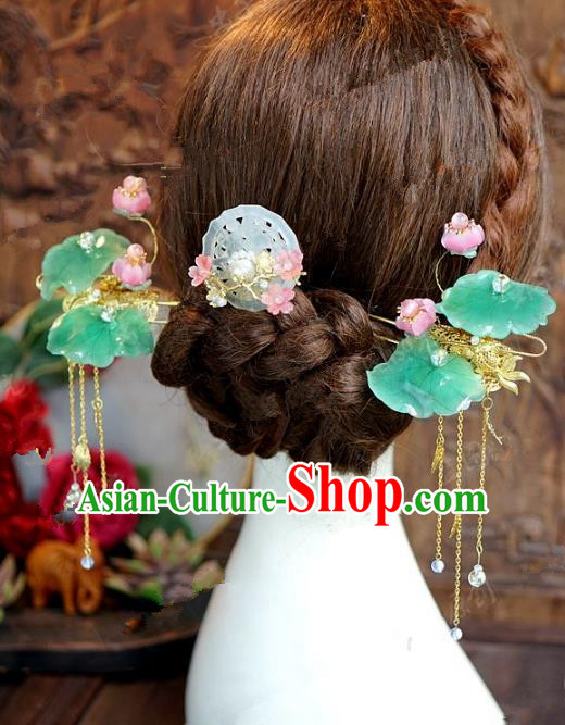 Chinese Handmade Ancient Wedding Hair Accessories Lotus Hairpins Complete Set for Women