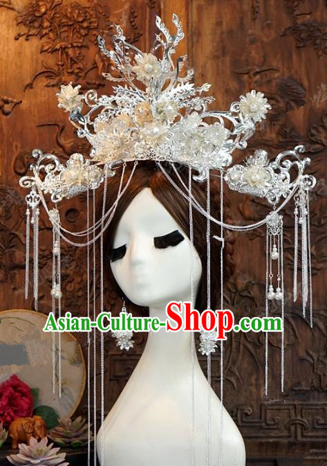 Chinese Handmade Ancient Wedding Hair Accessories Phoenix Coronet Hairpins Complete Set for Women