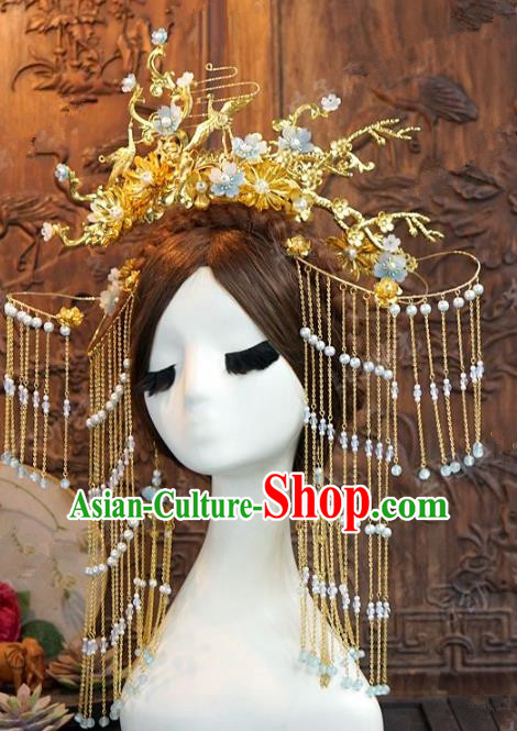 Chinese Handmade Ancient Wedding Hair Accessories Golden Tassel Phoenix Coronet Hairpins Complete Set for Women