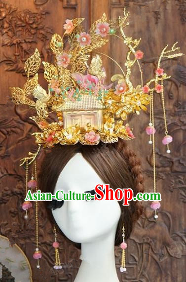 Chinese Handmade Wedding Hair Accessories Ancient Pink Flowers Phoenix Coronet Hairpins Complete Set for Women