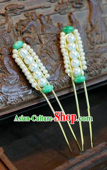 Chinese Handmade Ancient Hair Accessories Ancient Hanfu Pearls Hairpins for Women