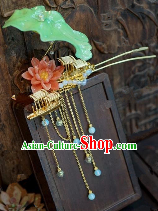 Chinese Handmade Ancient Hair Accessories Ancient Hanfu Boat Lotus Tassel Hairpins for Women
