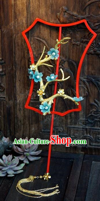 Top Grade Chinese Handmade Palace Fans Ancient Wedding Blue Plum Blossom Round Fans for Women