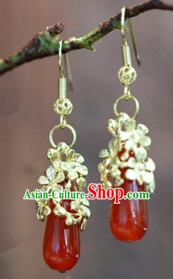 Chinese Handmade Ancient Bride Agate Earrings Jewelry Accessories for Women