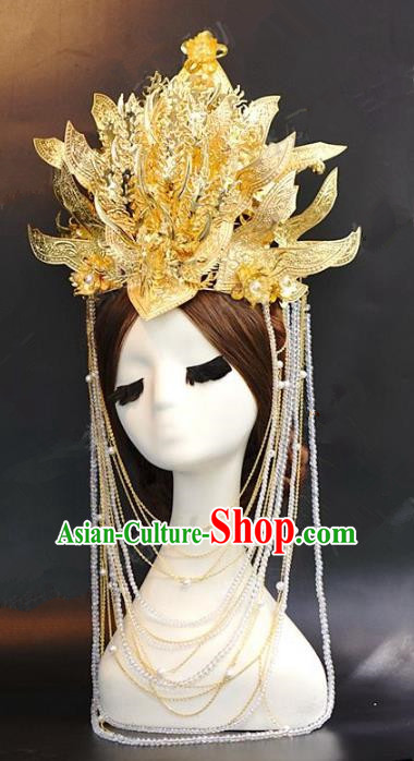 Chinese Traditional Ancient Palace Lady Golden Phoenix Coronet Queen Hairpins Headdress for Women