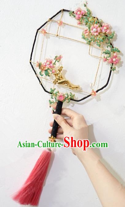 Top Grade Chinese Handmade Palace Fans Ancient Hanfu Hollowed-Out Round Fans for Women