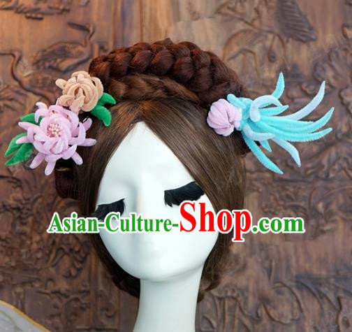 Top Grade Chinese Handmade Hair Accessories Qing Dynasty Princess Velvet Chrysanthemum Hairpins for Women