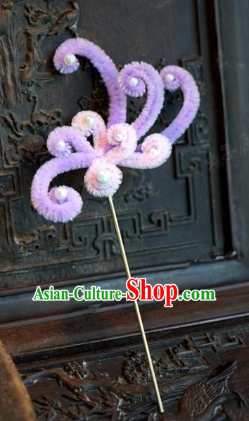Chinese Handmade Hair Accessories Qing Dynasty Princess Purple Velvet Flowers Hairpins for Women