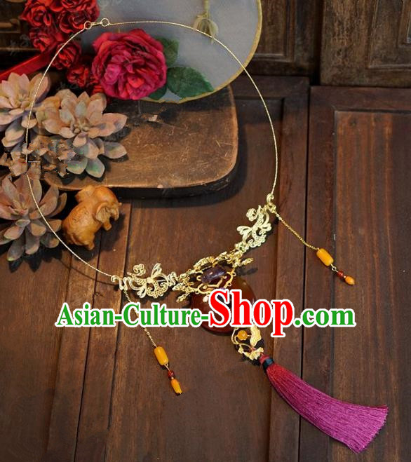 Chinese Handmade Jewelry Accessories Ancient Palace Lady Hanfu Agate Necklace for Women