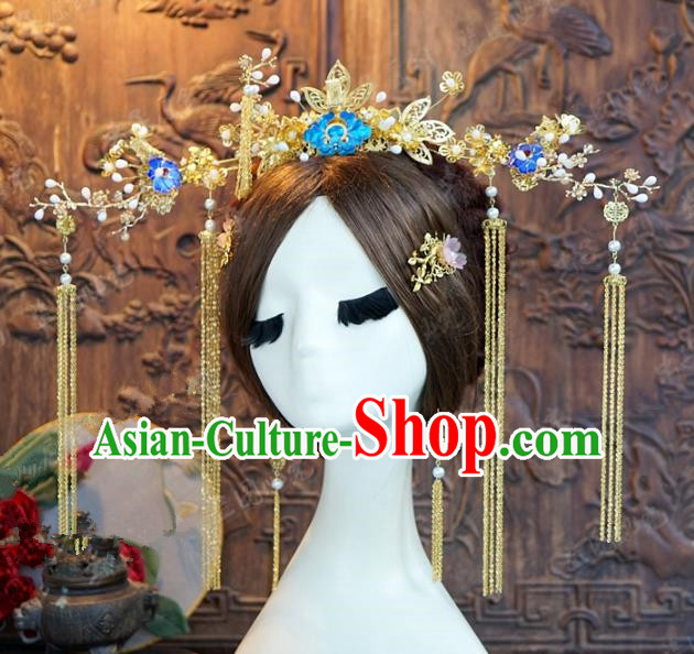 Chinese Traditional Ancient Palace Lady Phoenix Coronet Queen Headdress Hairpins Complete Set for Women