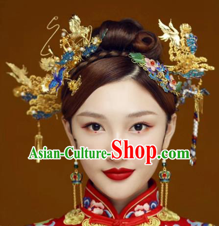 Chinese Traditional Ancient Palace Queen Headdress Hairpins Complete Set for Women