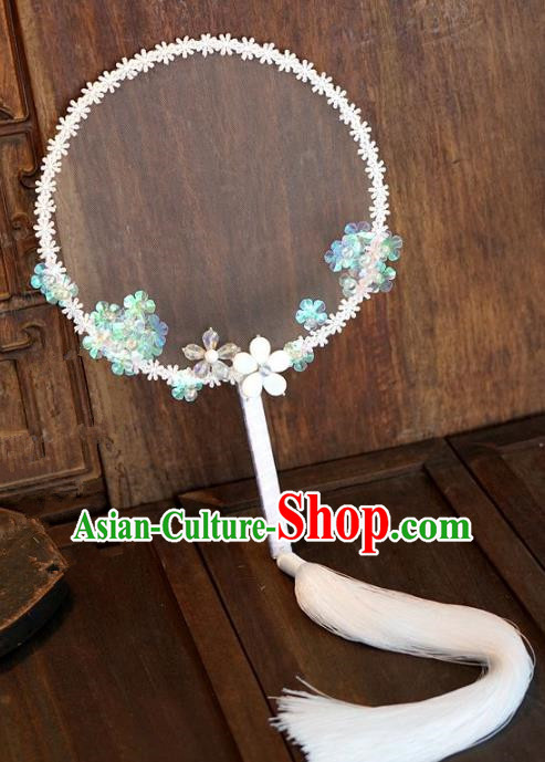 Top Grade Chinese Handmade Palace Fans Ancient Hanfu Lace Round Fans for Women