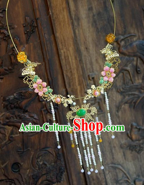 Chinese Handmade Jewelry Accessories Ancient Palace Lady Hanfu Tassel Flowers Necklace for Women