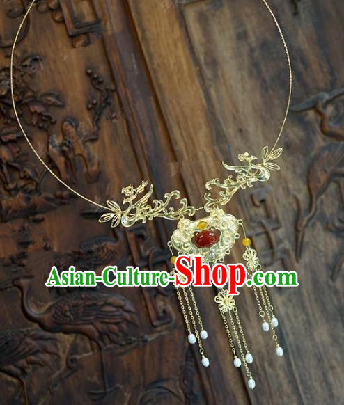Chinese Handmade Jewelry Accessories Ancient Palace Lady Hanfu Tassel Agate Necklace for Women