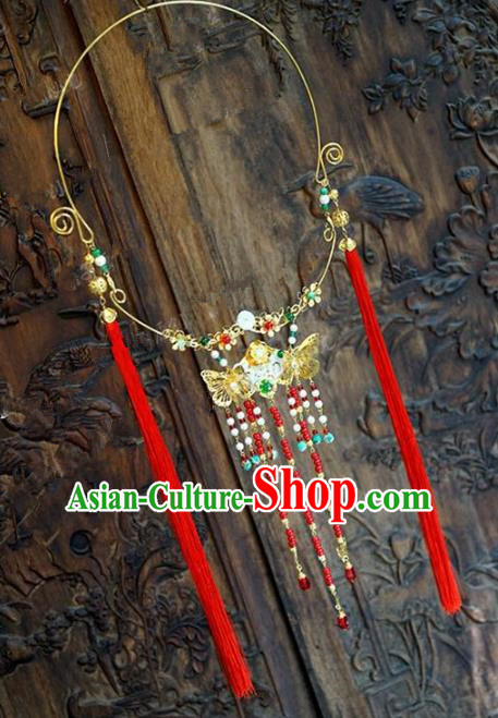 Chinese Handmade Jewelry Accessories Ancient Palace Lady Hanfu Red Tassel Butterfly Necklace for Women