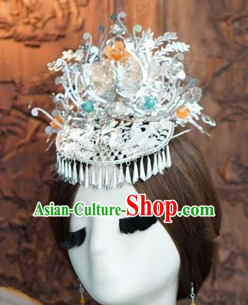 Chinese Traditional Ancient Palace Queen Headdress Wedding Phoenix Coronet Hairpins Complete Set for Women