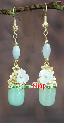 Chinese Handmade Jewelry Accessories Ancient Bride Hanfu Jade Earrings for Women