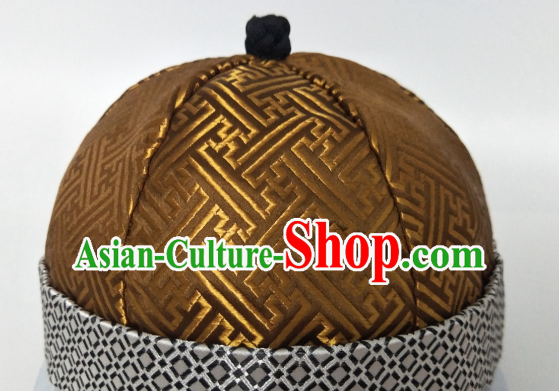 Chinese Traditional Handmade Silk Brocade Qing Dynasty Princess Manchu Hat for Men
