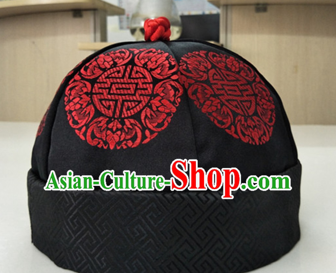 Chinese Ancient Style Handmade Qing Dynasty Black Manchu Hat for Men