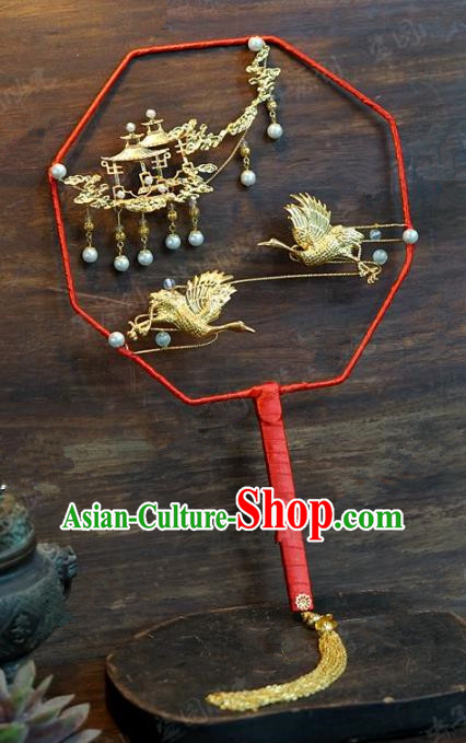 Top Grade Chinese Handmade Palace Fans Ancient Cranes Round Fans for Women