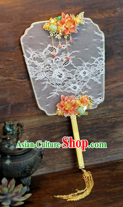Top Grade Chinese Handmade Palace Fans Ancient Peony Lace Round Fans for Women