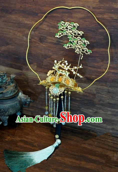 Top Grade Chinese Handmade Pineburst Palace Fans Ancient Wedding Round Fans for Women