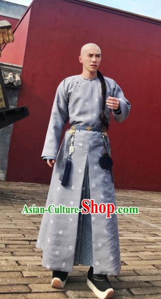 Chinese Ancient Qing Dynasty Imperial Bodyguard Story of Yanxi Palace Nobility Childe Embroidered Costumes for Men