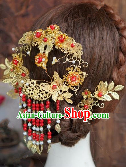 Chinese Handmade Wedding Hair Accessories Ancient Bride Red Beads Tassel Hairpins Complete Set for Women