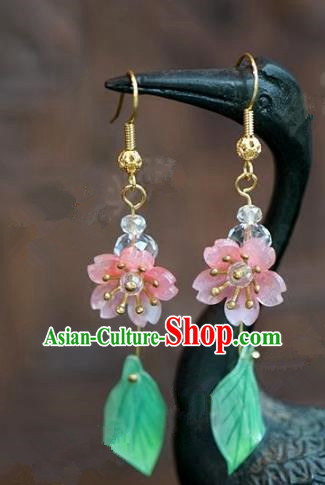 Chinese Handmade Earrings Ancient Bride Pink Flowers Eardrop Jewelry Accessories for Women