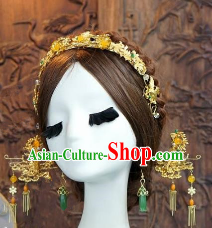 Chinese Handmade Wedding Hair Accessories Ancient Bride Hair Clasp Hairpins Complete Set for Women
