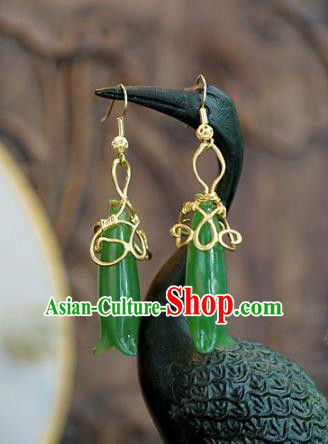 Chinese Handmade Jade Earrings Ancient Bride Eardrop Jewelry Accessories for Women