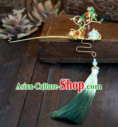 Chinese Handmade Ancient Hair Accessories Ancient Hanfu Hair Clip Agate Hairpins for Women