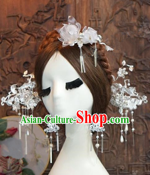 Chinese Handmade Wedding Hair Accessories Ancient Sliver Hairpins Complete Set for Women