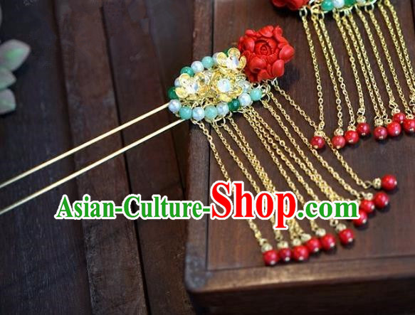 Chinese Handmade Ancient Hair Accessories Ancient Hanfu Tassel Step Shake Hairpins for Women