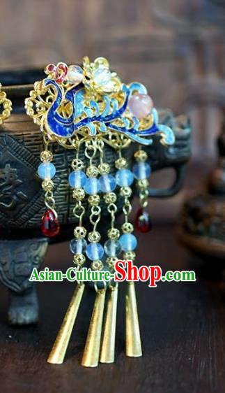 Chinese Handmade Ancient Hair Accessories Ancient Hanfu Blueing Phoenix Hairpins for Women