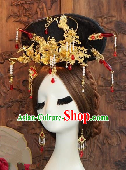 Chinese Ancient Handmade Hanfu Agate Hairpins Wedding Hair Accessories Complete Set for Women