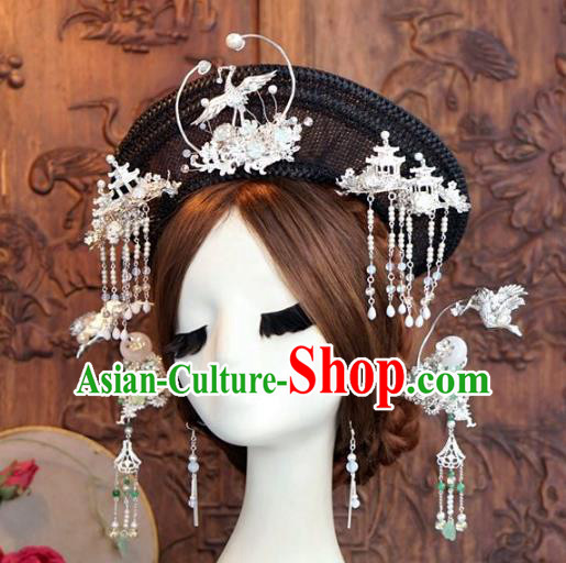 Chinese Ancient Handmade Hanfu Crane Hairpins Wedding Hair Accessories Complete Set for Women