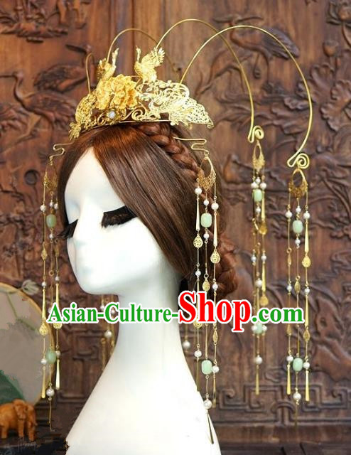 Chinese Ancient Handmade Hanfu Hairpins Wedding Hair Accessories Tassel Phoenix Coronet for Women