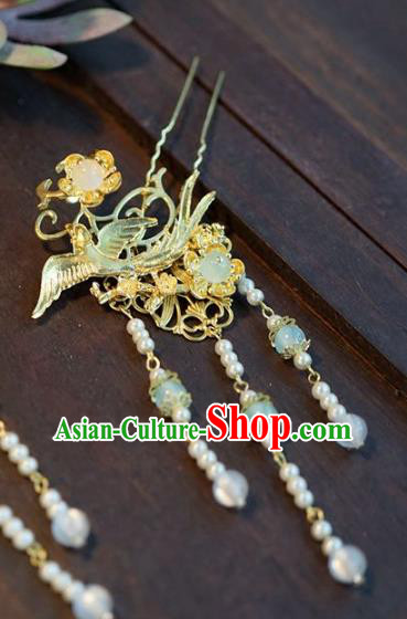 Chinese Handmade Ancient Hair Accessories Ancient Hanfu Bird Tassel Hairpins for Women