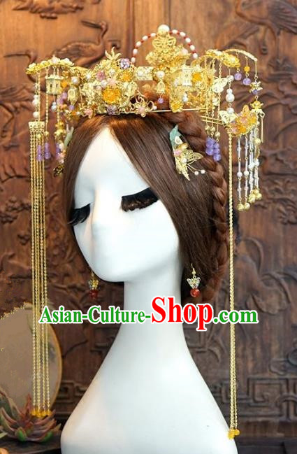 Chinese Ancient Handmade Bride Phoenix Coronet Hanfu Hairpins Wedding Hair Accessories Complete Set for Women