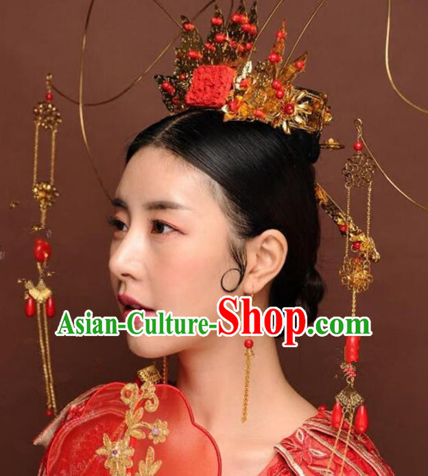 Chinese Ancient Handmade Tassel Phoenix Coronet Hanfu Hairpins Wedding Hair Accessories for Women