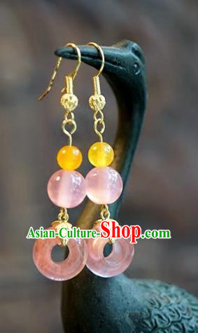 Chinese Handmade Ancient Bride Rose Crystal Earrings Jewelry Accessories for Women