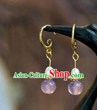 Chinese Handmade Pink Earrings Ancient Bride Eardrop Jewelry Accessories for Women